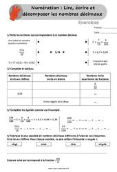 Lire, écrire et décomposer les nombres décimaux - Exercices, révisions à imprimer - Cm1 - Cm2