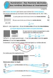 Des fractions décimales aux nombres décimaux et inversement - Leçon au Cm1 / Cm2