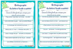 La lettre finale muette - Cm1 - Cm2 - Rituels - Orthographe