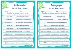 Homophones grammaticaux (ou_où_leur_leurs) - Cm1 - Cm2 - Rituels - Orthographe