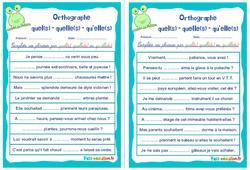 Homophones grammaticaux (quel(s) – quelle(s) – qu'elle(s)) - Cm1 - Cm2 - Rituels - Orthographe