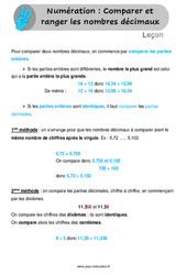Comparer et ranger les nombres décimaux - Leçon au Cm1 et Cm2