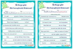 Les homophones lexicaux - Cm1 - Cm2 - Rituels - Orthographe