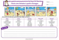 La plage - Ce1 - Ce2 - Images séquentielles - Production d'écrit - Rédaction