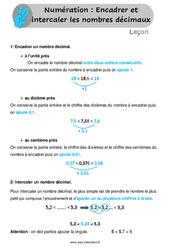 Encadrer et intercaler les nombres décimaux - Leçon au Cm1 et Cm2