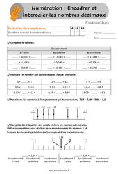 Encadrer et intercaler les nombres décimaux - Évaluation, bilan au Cm1 et Cm2 avec la correction