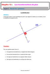 Revoir les symétries - 4ème - Cours sur les transformations du plan
