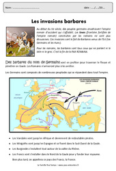 Invasions barbares - Cm1 - Exercices - Documentaire
