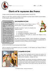 Clovis et le royaume des francs – Cm1 – Exercices – Documentaire