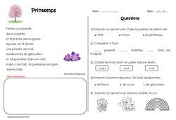 Printemps - Ce1 - Poésie