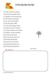 Trois feuilles mortes - Cm2 - Poésie