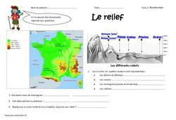 Reliefs - Cm1 - Exercices - Découvrir les lieux où j'habite