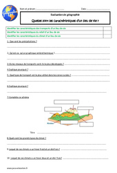 Caractéristiques d'un lieu de vie - Cm1 - Evaluation