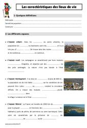 Caractéristiques des lieux de vie – Cm1 – Leçon