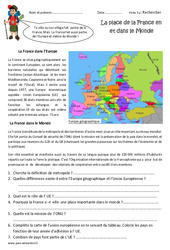 La place de la France dans l'Europe et le monde – Cm1 – Exercices