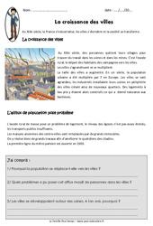 Croissance des villes – Cm2 – Exercices