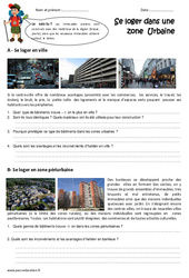 Se loger en zone urbaine - Cm1 - Exercices