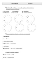 Date et heure – Ce2 – Cm1 – Cm2 – Exercices – Anglais – Cycle 3 (2)