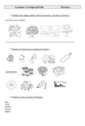 La nature, le temps qu'il fait – Ce2 – Cm1 – Cm2 – Exercices – Anglais – Cycle 3  (1)