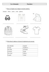 Vêtements en anglais –  trousers  ;  dress  ;  socks  ;  coat  ;  glasses. – Ce2 – Cm1 – Cm2 – Anglais – Cycle 3