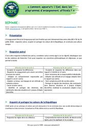 Comment apparaît l'EMC dans les programmes d'enseignement officiels? - CRPE2022