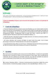 Comment acquérir et faire partager les valeurs de la République française? - CRPE2022