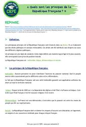 Quels sont les principes de la République française? - CRPE2022