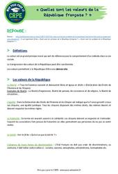 Quelles sont les valeurs de la République française? - CRPE2022