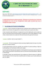 Quels sont les principes de l'école de la République? - CRPE2022