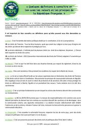 Quelques définitions à connaître en lien avec les valeurs et les principes de la République française - CRPE2022
