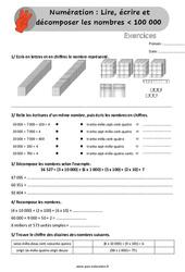 Lire, écrire et décomposer les nombres inférieur à 100 000 - Exercices, révisions à imprimer au Cm1 avec les corrigés