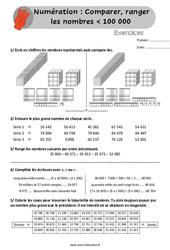 Comparer, ranger les nombres inférieur à 100 000 - Exercices, révisions à imprimer au Cm1 avec les corrigés