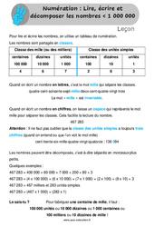 Lire, écrire et décomposer les nombres inférieur à 1 000 000 - Leçon au Cm1
