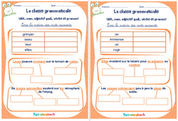 Déterminant, nom, adjectif qualificatif , verbe et pronom - Cm1 - Cm2 - Rituels - La classe grammaticale
