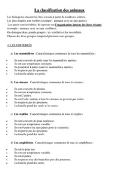 Classification des animaux – Leçon –  Cm1 – Sciences – Cycle 3