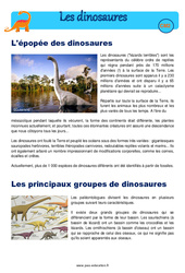 Epopée des dinosaures – Exercices  – Cm2 – Sciences – Cycle 3