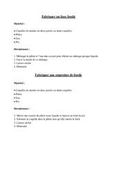 Notice de fabrication d'un fossile – Exercices  - Cm2 – Sciences – Cycle 3