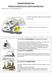 Comment préserver l'eau – Exercices – Cm1 – Cm2 – Sciences – Cycle 3