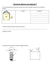 Comment allumer une ampoule – Electricité – Exercices – Ce2 Cm1 cm2 – Sciences – Cycle 3