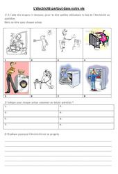 L'électricité au quotidien  – Exercices – Ce2 Cm1 Cm2 – Sciences – Cycle 3