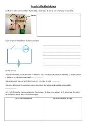 Circuits électriques - Exercices - Ce2 Cm1 cm2 - Sciences - Cycle 3