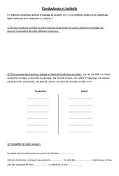 Conducteurs et isolants - Electricité - Exercices - Ce2 Cm1 cm2 - Sciences - Cycle 3