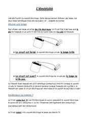 Electricité – Leçon – Ce2 Cm1 cm2 – Sciences – Cycle 3