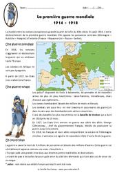 1ère guerre mondiale 1914 – 1918 – Cm2 – Exercices