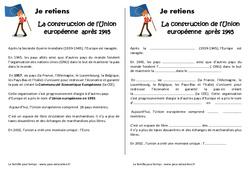 Construction de l'Union européenne - Cm2 - Leçon