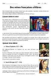 Le temps des reines – Cm1 – Exercices