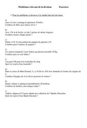 Problèmes relevant de la division  - Ce2 - Exercices - Cycle 3  1