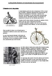 Bicyclette - Histoire et transmission du mouvement – Exercices - Cm1 - Cm2 – Sciences – Cycle 3