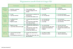 Etude de la langue – Ce1 – Programmation annuelle