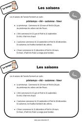 Saisons – CP – Leçon